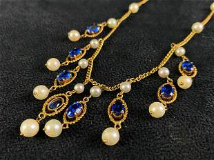 Vintage 14K Gold Sapphire & Pearl Chandelier Necklace