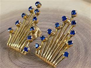 Vintage Art Deco 14K Custom Sapphire Earrings
