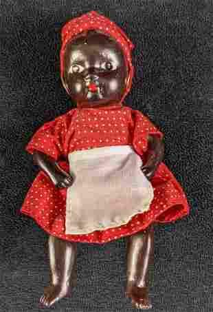 Vintage Black Americana Bisque Porcelain Jointed Baby