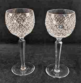 Two Waterford Crystal Alana White Wine Glasses