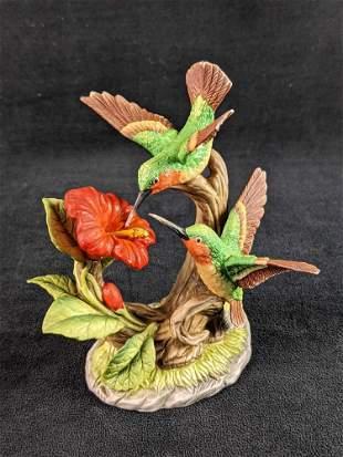 Vintage Ruby Throated Hummingbirds Bisque Porcelain