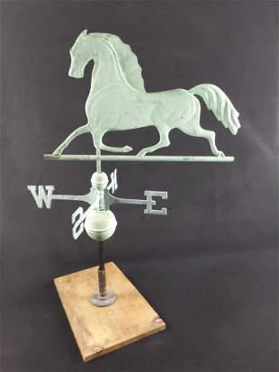 Mounted Cantering Horse Aluminum Weathervane