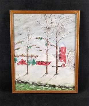 Acrylic Winter Barn Scene Signed H. Lazarus