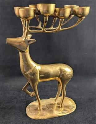 Vintage Brass Deer Candelabra 8 Candle Holder