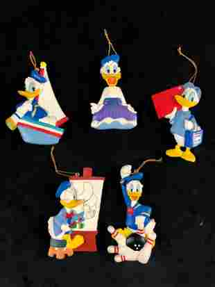 Lot of 5 Vintage Donald Duck Hollowed Plastic Ornaments