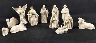 12 Porcelain Bisque Nativity Set W White Gold Trim