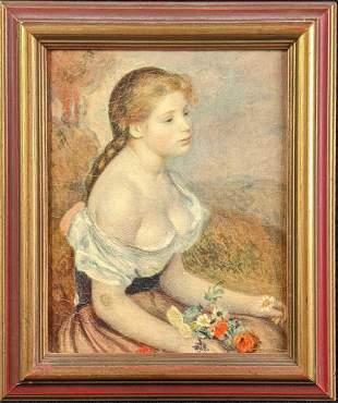 Vintage Auguste Renoir Embellished Print Young Girl