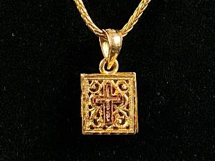 """Vintage 14K Necklace & """"Praise The Lord """" Bible Charm"""