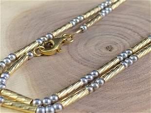 Vintage 14K Gold Designer Milor Beaded Necklace