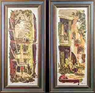 Framed Oil On Wood Originals Pirates Alley Bosque Patio