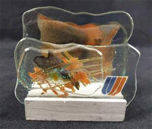 Vintage United Airlines Glass Napkin Holder