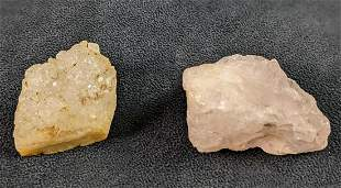 Small Chunks Of Rose And Quartz Crystals