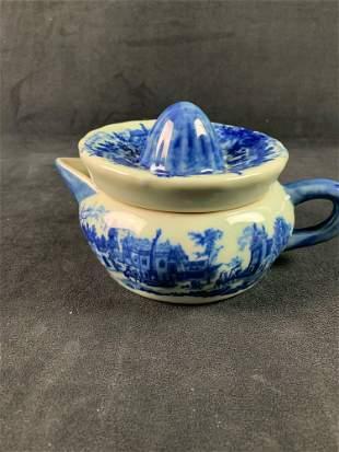 Vintage Victorian Ware Ironstone Flow Blue Juice Reamer
