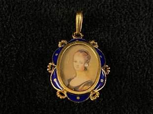 Estate Victorian 14K Gold Royal Blue Enamel Miniature