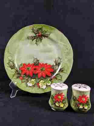 Lefton Limited Edition Poinsettia Plate And Shakers Lot