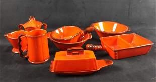 Vintage Metlox Red Rooster Red Dinnerware Lot Of 8
