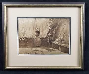 Vintage Emile Adan Framed Sepia Print