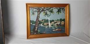 Vintage Needlepoint Nautical Landscape
