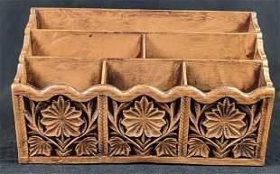 Vintage Faux Carved Wood Lerner Desk Organizer