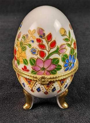 Vintage Cloisonne Gold Painted Egg Shaped Hinged