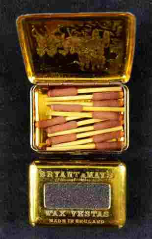 Two Wax Vestas Tin Bryant And Mays London 1893