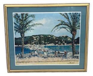 Framed Serigraph Print Harbor Scene, Numbered