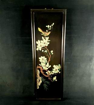 Vintage Chinese Signed Black Lacquer Hand Painted
