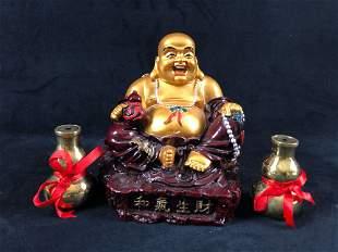 Buddha Wu Lu Statue Feng Shui Chinese Art Lot Of 3