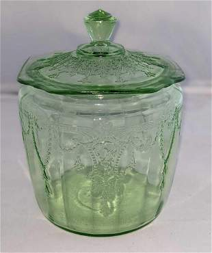 Vintage Federal Glass Georgian Green Cookie Jar With