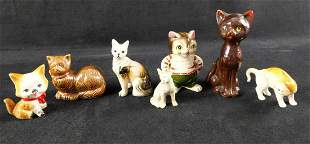 Vintage Ceramic Kitty And Dog Lot Of Seven