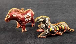 Two Silk Animal Indian Animal Figures Folk Art A