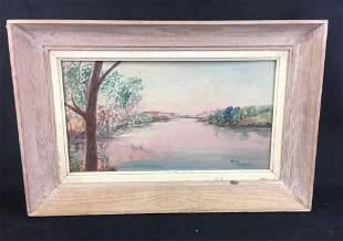 Signed Original Serene Daybreak Landscape Painting