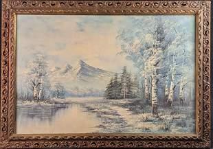 Vintage Winter Mountains Scene Original Oil On Canvas