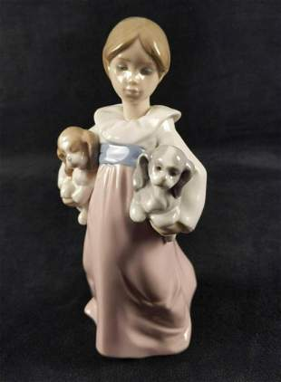 Lladro Arms Full of Love Girl Figurine With Pups