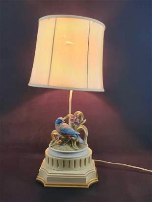 Vintage Andrea By Sadek Porcelain Bisque Bird Lamp