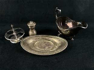 Vintage - Antique Silver Plated & Sterling 4Pc Mixed