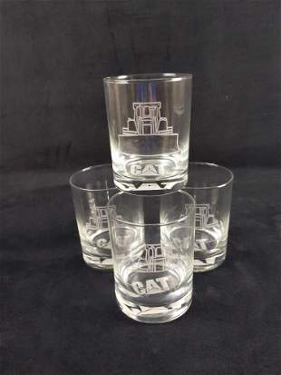 4 Caterpillar CAT Machines Etched Drinking Glasses