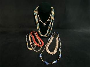 Vintage Lot Of Gold Plated Colorful Beaded Necklaces