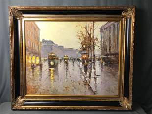 "Original Signed Vladimir Nasonov Oil On Canvas ""Fall In"