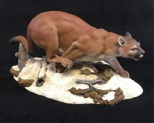 Original Mountain Lion Wildlife Sculpture by Gary