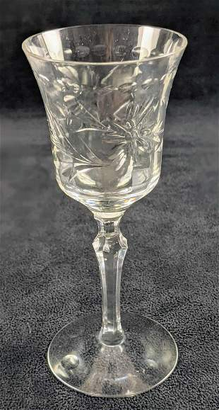 Ten Tiffin Crystal Wine Goblets With Floral Pattern