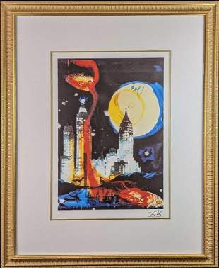 Framed Salvador Dali Framed Manhattan Skyline With COA