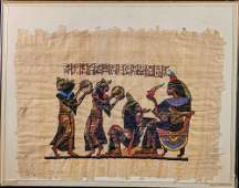 Hand Painted Egyptian Papyrus Art Musicians