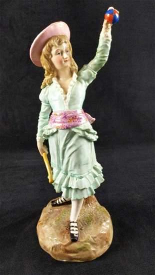 Vintage Ernst Bohne Porcelain Young Girl W Ball