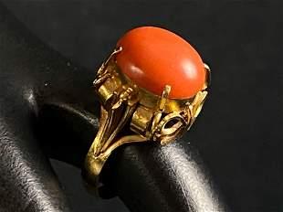Antique Egyptian 18K Gold Orange Agate Solitaire Stone