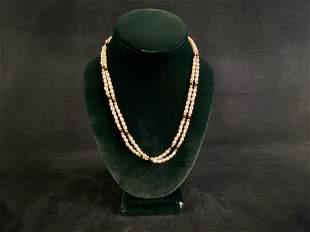 Vintage Beaded River Pearl Onyx 14K Gold Beaded Multi