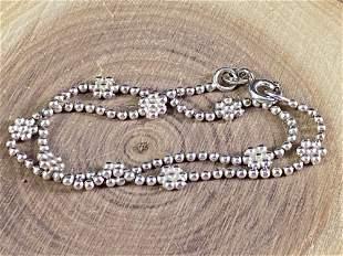 Vintage Sterling Silver Daisies Beaded Ankle Bracelet /