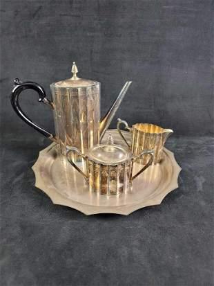 Godinger Silver Plated Coffee/Tea Pot Set Lot of 4