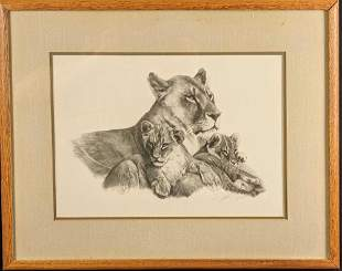 Framed LE Lithograph Print Lioness And Cubs