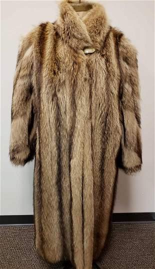 Made in Greece Full Length Tanuki Fur Coat